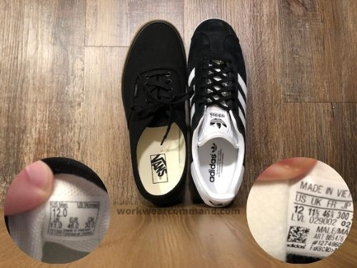 vans-authentic-vs-adidas-gazelle-sizing